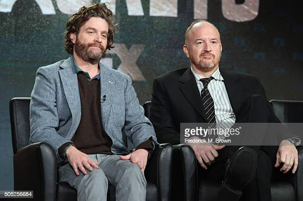 """Co-Creator/Executive Producer/Actor Zach Galifianakis and Co-Creator/Executive Producer Louis C.K. Speak onstage during """"Baskets"""" panel discussion at..."""