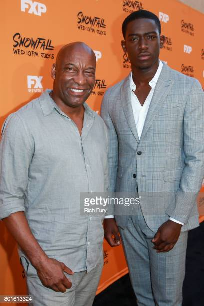 CoCreator/Executive Producer/Director/Writer John Singleton and actor Damson Idris attends the premiere of FX's 'Snowfall' at The Theatre at Ace...