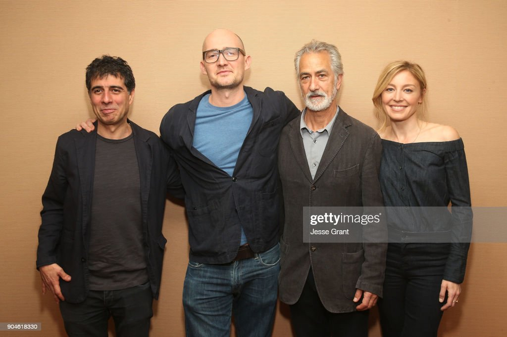 Co-creator/executive producer/writer Hossein Amini, co-creator/executive producer/director James Watkins, actors David Strathairn and Juliet Rylance of the television show McMafia pose for a photo in the green room during the AMC portion of the 2018 Winter Television Critics Association Press Tour on January 13, 2018 in Pasadena, California.
