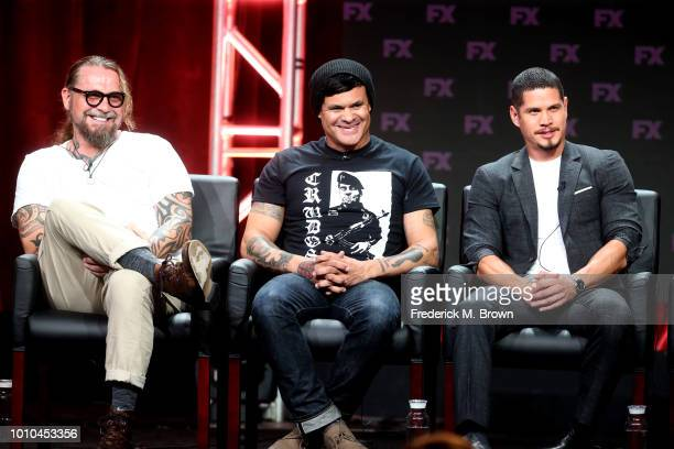 Cocreator/executive producer/writer Kurt Sutter cocreator/executive producer/writer/director Elgin James and actor J D Pardo speak onstage at the...