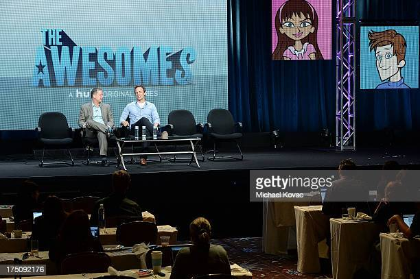 CoCreator/Executive Producer/Writer Michael Shoemaker and CoCreator/Writer/Actor Seth Meyers speak onstage during the 'The Awesomes' portion of the...