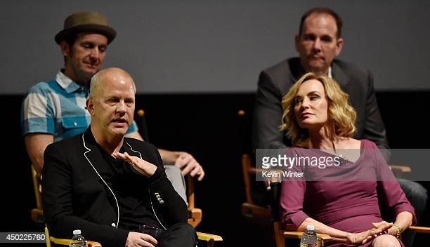 Co-creator/executive producer/writer Ryan Murphy, actress Jessica Lange, actor Denis O'Hare and executive producer Tim Minear appear onstage at a...