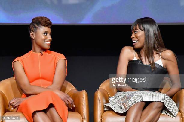 CoCreator/Executive Producer/Writer/Actor Issa Rae and Actor Yvonne Orji speak onstage at Insecure FYC at Television Academy on May 31 2018 in Los...