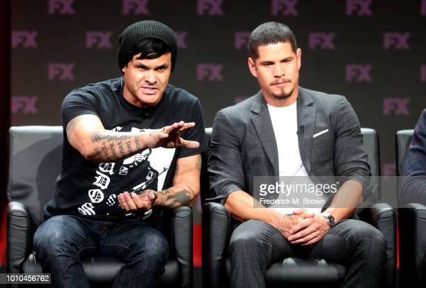 Cocreator/executive producer/writer/director Elgin James and actor J D Pardo speak onstage at the 'Mayans MC' panel during the FX Network portion of...