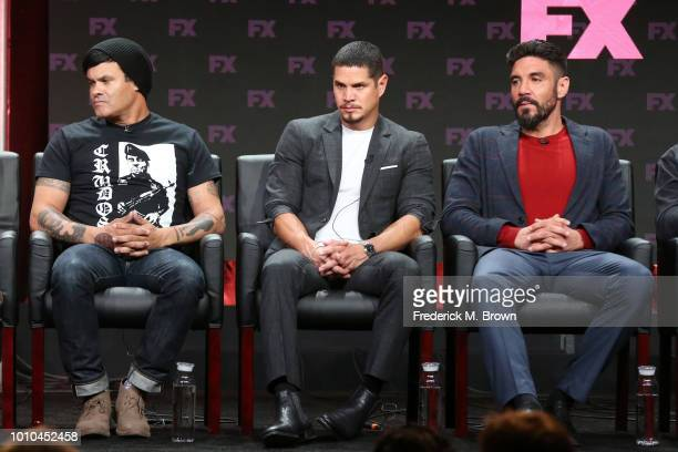 Cocreator/executive producer/writer/director Elgin James and actors J D Pardo and Clayton Cardenas speak onstage at the 'Mayans MC' panel during the...