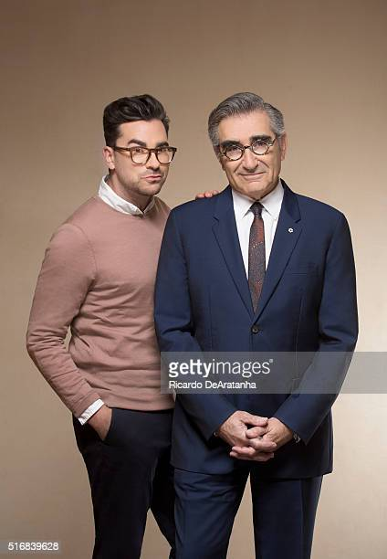 Co-creators and co-stars of the sitcom 'Schitt's Creek' Eugene Levy and Dan Levy are photographed for Los Angeles Times on March 2, 2016 in Los...