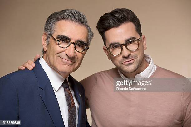 Cocreators and costars of the sitcom 'Schitt's Creek' Eugene Levy and Dan Levy are photographed for Los Angeles Times on March 2 2016 in Los Angeles...