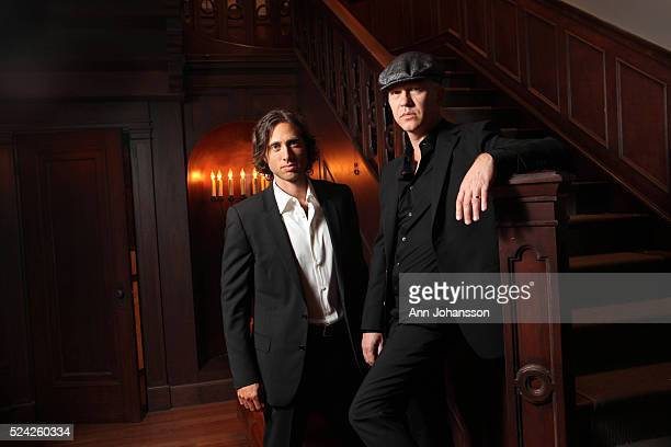 """Co-creators Brad Falchuk, left, and Ryan Murphy pose for photographs on the set of """"American Horror Story"""" at Paramount Studios in Los Angeles,..."""