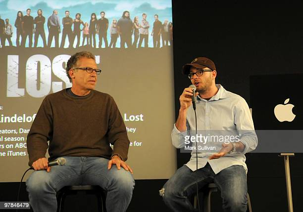 Cocreators Carlton Cuse and Damon Lindelof attend the Lost 'Meet the Creator' event at Apple Store Third Street Promenade on March 18 2010 in Santa...