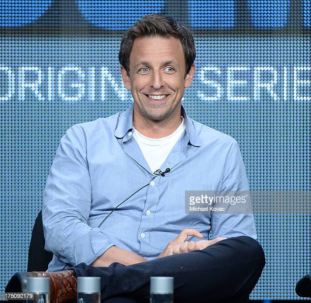 Cocreator/Writer/Actor Seth Meyers speaks onstage during the 'The Awesomes' portion of the Hulu 2013 Summer TCA Tour at The Beverly Hilton Hotel on...