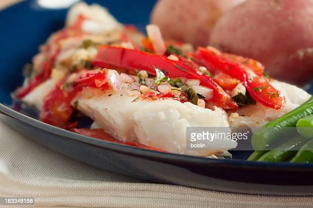 Cod Fish With Warm Tomato Salad