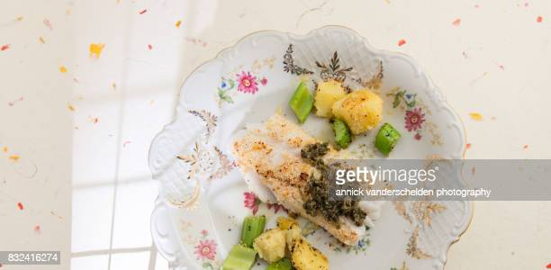 Cod with salsa verde, celery and potatoes.