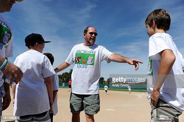 DENVER CODan Steffes center directs traffic at the 3rd annual McKaila Ball a kickball party at the Colorado Rockies Fast pitch Softball Field at the...