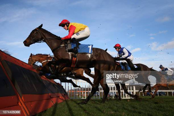 Coddington Banks ridden by Charlie Hammond jumps a fence during The G C Rickards Ltd EBF Mares' 'National Hunt' Novices' Hurdle Race at Ludlow...