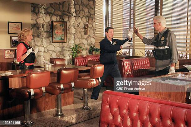 """Code Blue Plate Special"""" -- D.B. Russell acts out what he believes could have happened at the diner while Julie Finlay and a co-worker watch on CSI:..."""
