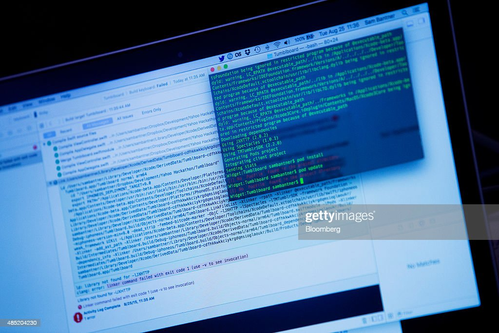 Code is seen on the laptop computer screen of an attendee participating in the Yahoo! Inc. Mobile Developer Conference Hackathon in New York, U.S., on Tuesday, Aug. 25, 2015. The Hackathon is an opportunity for mobile developers to come together and hack around the Yahoo! Inc. Mobile Developer Suite. Photographer: Victor J. Blue/Bloomberg via Getty Images