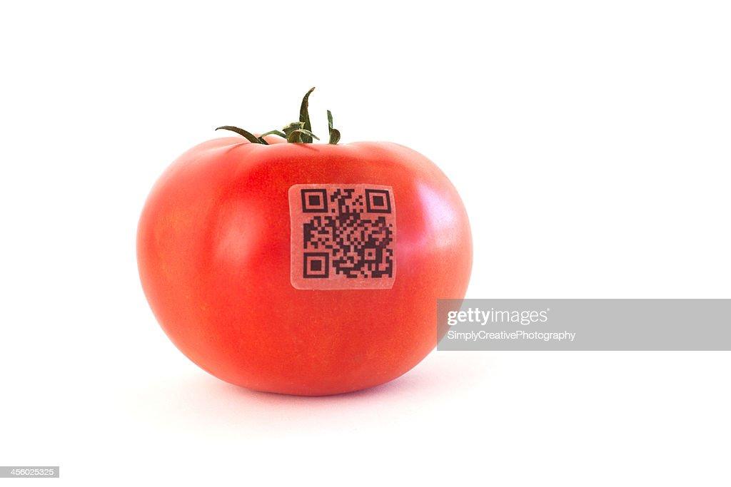 Código QR na tomate : Foto de stock