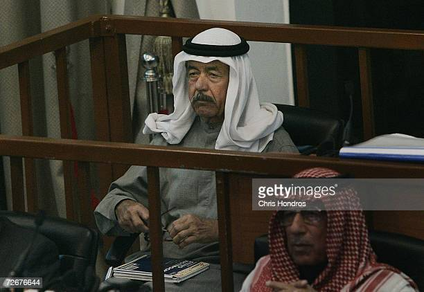 Codefendant Ali Hassan alMajid sits in court during the trial of Saddam Hussein on the accusations of genocide against the Kurds November 30 2006 in...