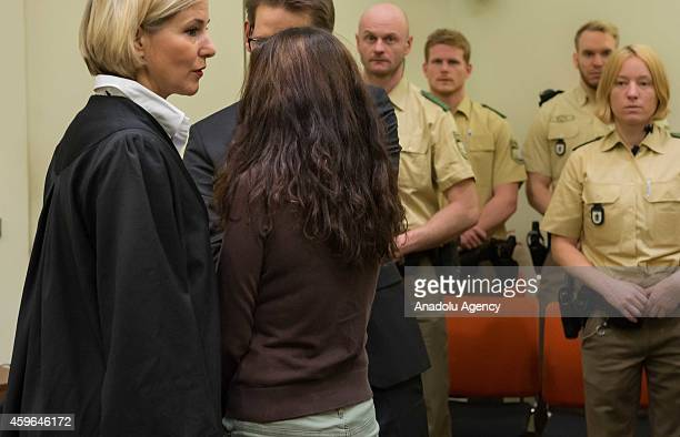 Codefendant Beate Zschaepe and her lawyers Wolfgang Heer and Anja Sturm wait for the start of 165th day of the National Socialist Underground neoNazi...