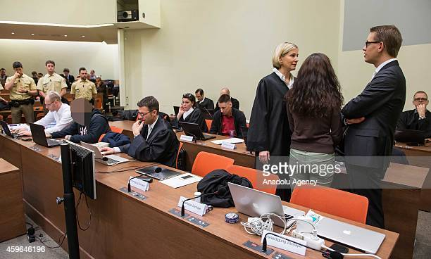 Codefendant Beate Zschaepe and her lawyers Wolfgang Heer and Anja Sturm and codefendants Ralf Wohlleben and Andre E wait for the start of 165th day...