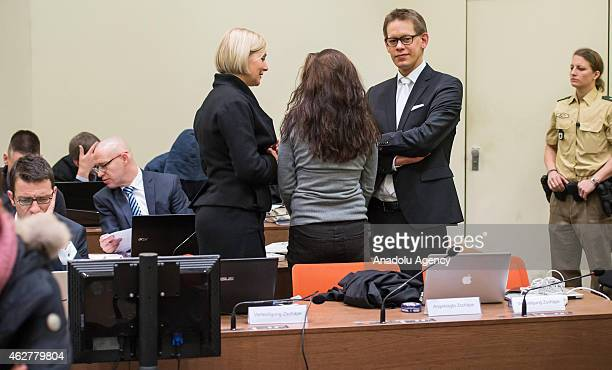 Codefendant Beate Zschaepe and her lawyers Wolfgang Heer and Anja Sturm wait for the start of 183rd day of the NSU neoNazi murders trial in...