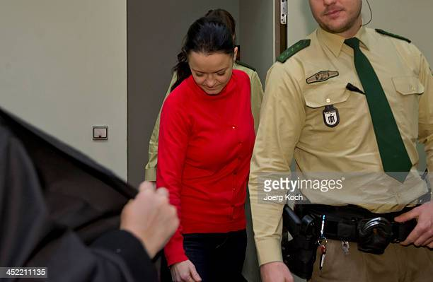 Codefendant Beate Zschaepe arrives for today's NSU neoNazi murders trial in which Zschaepe's mother and other witnesses will testify in the witness...