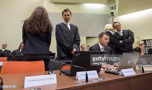Codefendant Beate Zschaepe her new lawyer Mathias Grasel and her other lawyers Wolfgang Stahl Anja Sturm and Wolfgang Heer wait for NSU neoNazi...