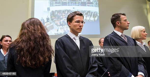 Codefendant Beate Zschaepe her new lawyer Mathias Grasel and her other lawyers Wolfgang Stahl and Anja Sturm wait for NSU neoNazi murders trial in...