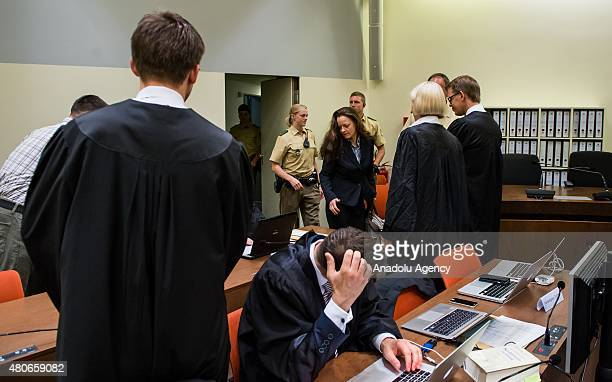 Codefendant Beate Zschaepe her new lawyer Mathias Grasel and her other lawyers Wolfgang Heer Anja Sturm and Wolfgang Stahl wait for NSU neoNazi...