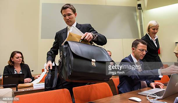 Codefendant Beate Zschaepe's new lawyer Mathias Grasel and her other lawyers Wolfgang Stahl and Anja Sturm wait for NSU neoNazi murders trial in...