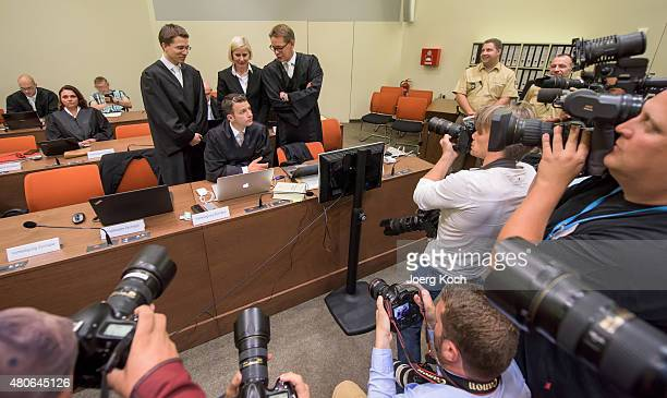 Codefendant Beate Zschaepe's new lawyer Mathias Grasel and her other lawyers Wolfgang Stahl Anja Sturm and Wolfgang Heer wait for NSU neoNazi murders...