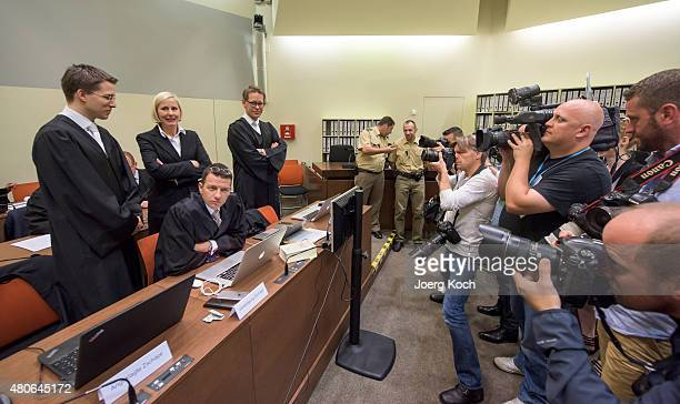 Codefendant Beate Zschaepe's new lawyer Mathias Grasel and her other lawyers Anja Sturm Wolfgang Stahl and Wolfgang Heer wait for NSU neoNazi murders...