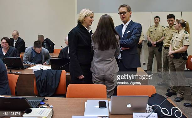 Codefendants Beate Zschaepe and her lawyers Wolfgang Heer and Anja Sturm and Codefendants Ralf Wohlleben and Holger G wait for the start of 173th day...