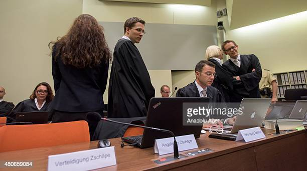 Codefendants Beate Zschaepe her new lawyer Mathias Grasel and her other lawyers Wolfgang Stahl Anja Sturm and Wolfgang Heer wait for NSU neoNazi...