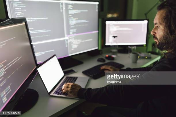 coder working late at night - dark web stock pictures, royalty-free photos & images