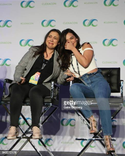 Codeveloper and showrunner Gloria Calderon Kellett and actress Isabella Gomez speak at the One Day at a Time panel during the ClexaCon 2018...