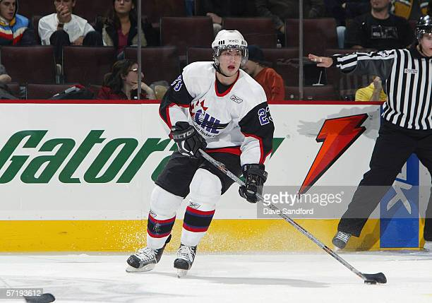 Codey Burki of Team Orr looks to make a pass play against Team Cherry during the CHL Top Prospects Game at Scotia Bank Place on January 18 2006 in...