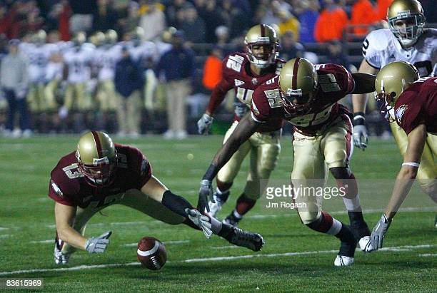 Codi Boek of the Boston College Eagles recovers a blocked punt against the Notre Dame Fighting Irish on November 8, 2008 at Alumni Stadium in...