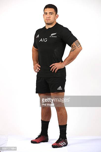 Codi Taylor of the All Blacks poses for a portrait during a New Zealand All Black portrait session on May 29 2016 in Auckland New Zealand