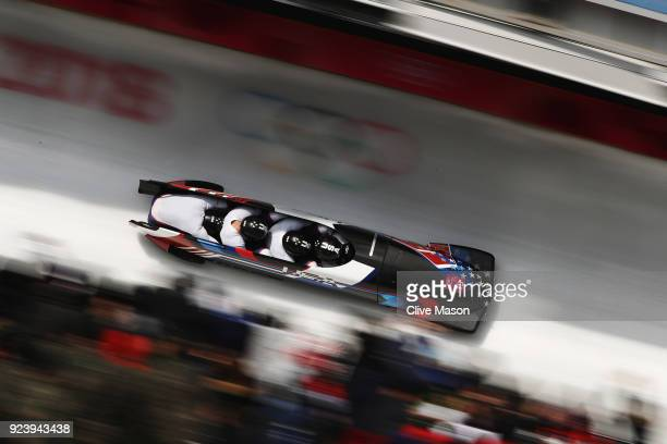 Codie Bascue Evan Weinstock Steven Langton and Samuel McGuffie of the United States compete in their final run during the 4man Boblseigh Heats on day...