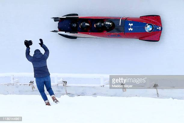Codie Bascue Joshua Williamson James Reed and Hakeem AbdulSaboor of the United States compete in the first run of the 4man bobsleigh competition on...