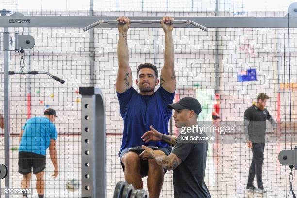 Codie Taylor and Aaron Smith work out during a New Zealand All Blacks gym session at the Apollo Projects Centre high performance training facility on...