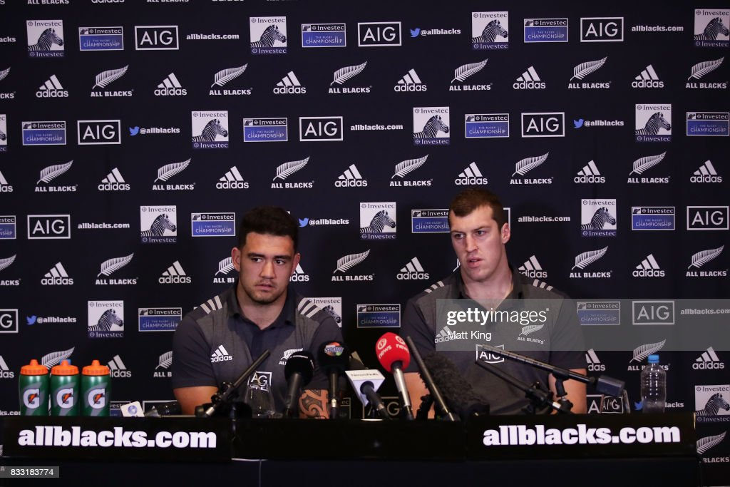 Codie Taylor (L) and Brodie Retallick (R) speak to the media during a New Zealand All Blacks press conference at The Intercontinental on August 17, 2017 in Sydney, Australia.