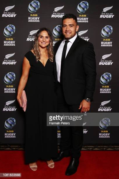 Codie Taylor and partner Lucy Ryan pose on the red carpet during the 2018 ASB Rugby Awards at SkyCity Convention Centre on December 13 2018 in...