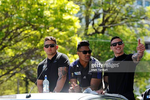 Codie Taylor Julian Savea and TJ Perenara during the New Zealand All Blacks Welcome Home Celebrations on November 6 2015 in Wellington New Zealand