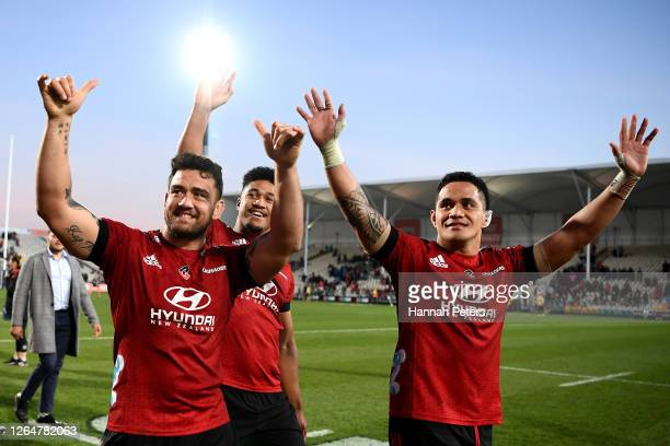 Codie Taylor, Leicester Faingaanuku and Sione Havili Talitui of the Crusaders celebrate after winning the round 9 Super Rugby Aotearoa match between...