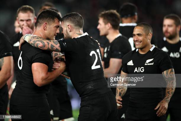 Codie Taylor of the All Blacks and TJ Perenara of the All Blacks exchange a hongi after winning The Rugby Championship and Bledisloe Cup Test match...