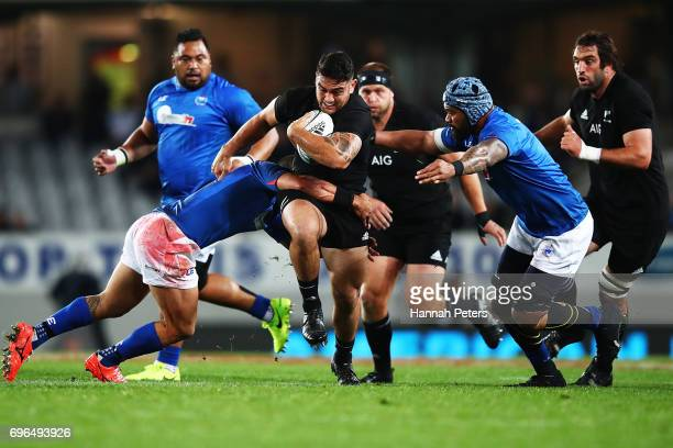 Codie Taylor of the All Blacks charges forward during the International Test match between the New Zealand All Blacks and Samoa at Eden Park on June...