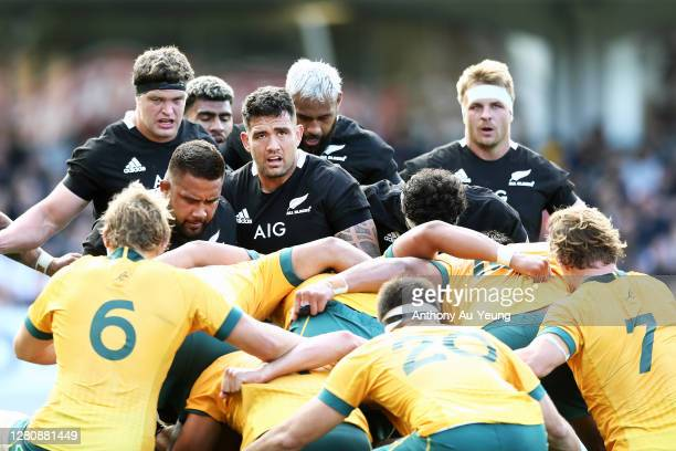 Codie Taylor of the All Blacks packs in a scrum during the Bledisloe Cup match between the New Zealand All Blacks and the Australian Wallabies at...