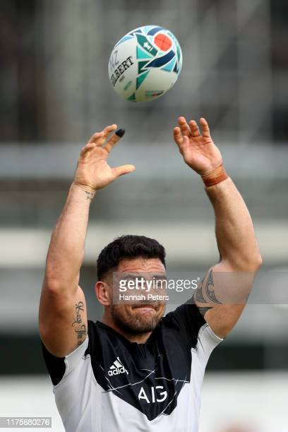 Codie Taylor of the All Blacks runs through drills during a New Zealand All Blacks Rugby World Cup Training Session at Tatsuminomori Seaside Park on...